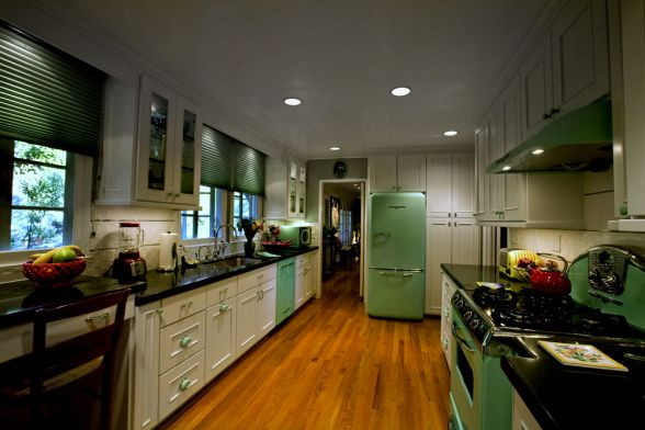 galley kitchen mint green with 1950 colorful smeg in a black and