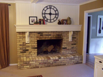 brick fireplace mantel makeover for the home pinterest