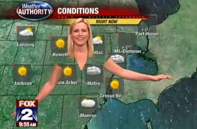A weathergirl's wardrobe malfunction: Presenter shows why meteorologists definitely SHOULDN'T wear green