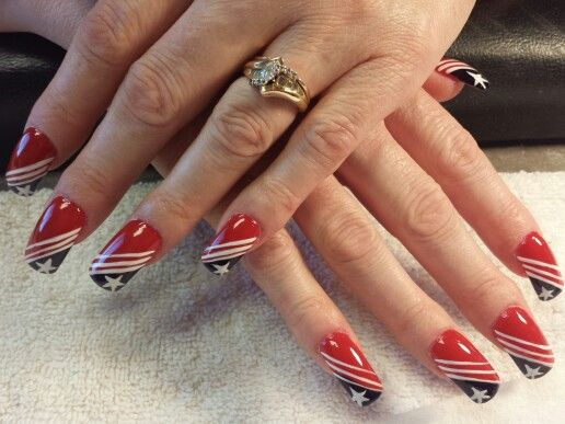 Red white and blue nails, by jeppy | My nail art work | Pinterest