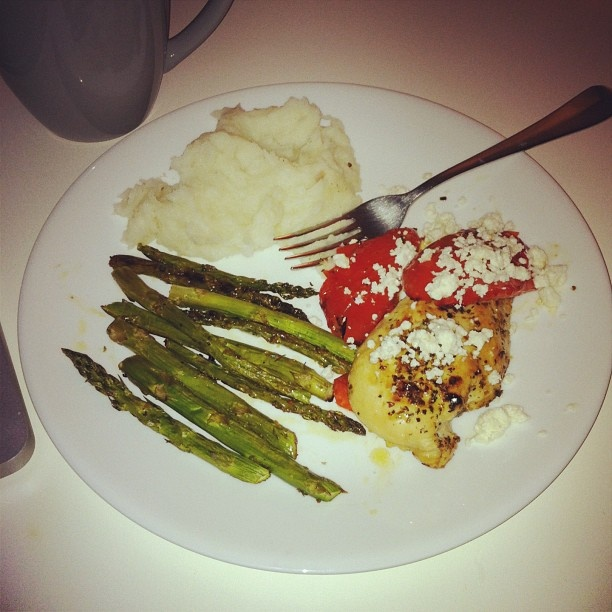... asparagus, and red peppers topped with feta + garlic mashed potatoes