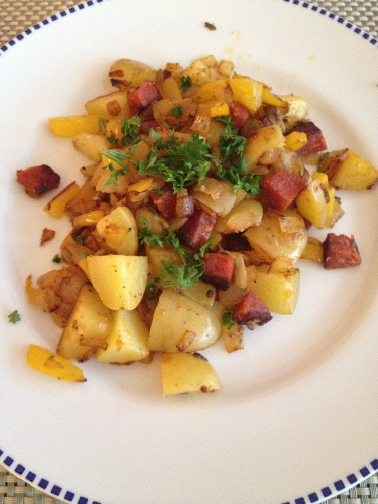 Chorizo, pepper and onion hash browns - breakfast joy!