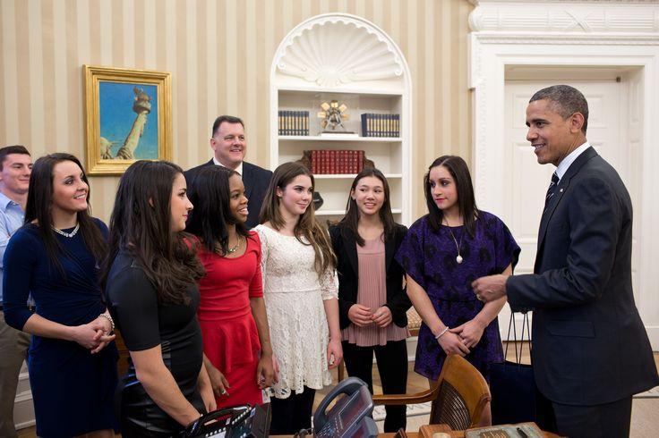 Obama e le campionesse olimpiche di ginnastica artistica