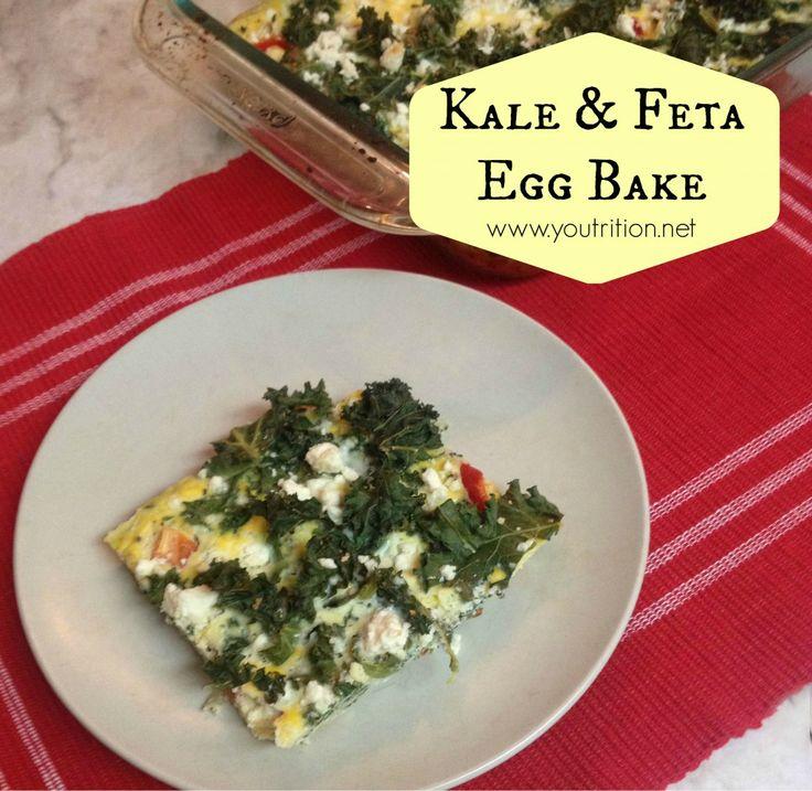 Kale & feta egg bake. SOOOO yummy, cook once, eat breakfast for a week ...
