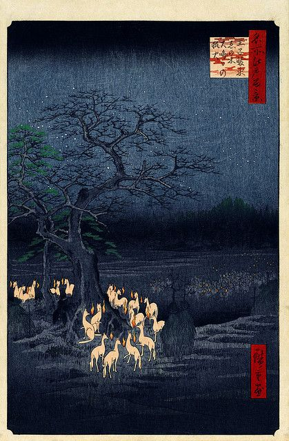 Hiroshige: New Year's Eve foxfires at the changing tree, Oji, 1857