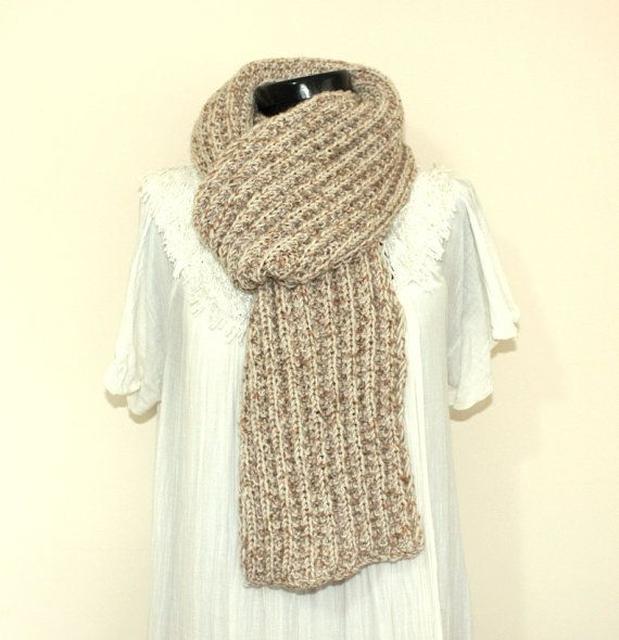 Beige Unisex Hand Knitted Scarf Mens Scarf Gifts How To Knit Scarves For Men