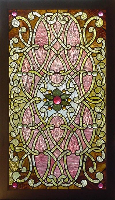 Antique American stained glass & jeweled window