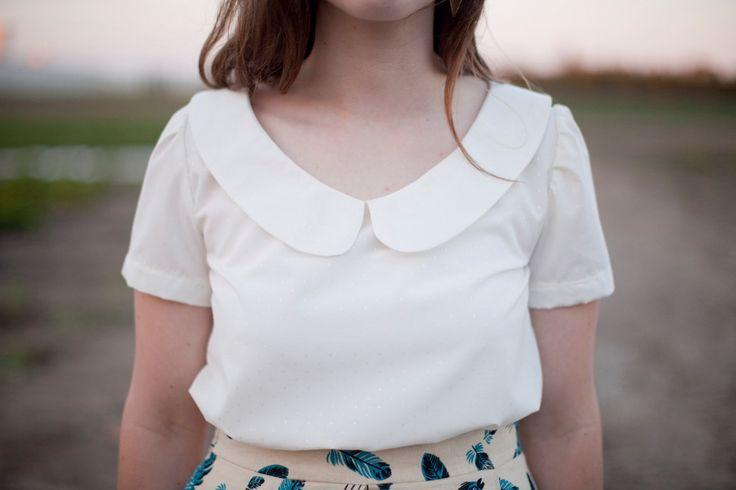 Womens Peter Pan Collar White Blouse 72