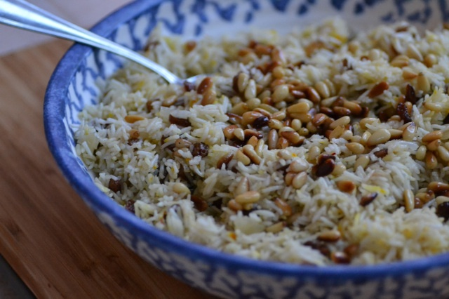 Saffron rice with golden raisins and toasted pine nuts