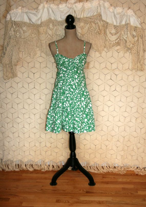 Etsy :: mysweetiepiepie :: VINTAGE 1950's Women's Clothing, Green Floral Shirtwaist Day Dress... Fitted Bodice Pleated Skirt Tux Ruffle Front, Bobbie Brooks