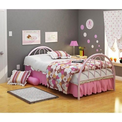 Twin bed frame girls pink brooklyn style twin bed head for Little girl twin bed frame