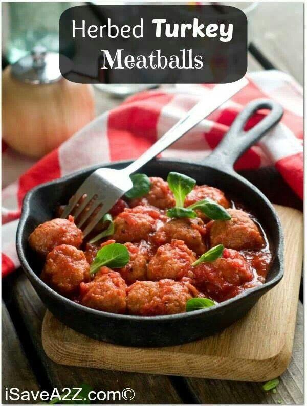 Herbed turkey meatballs | Dinner | Pinterest