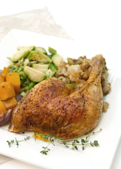 Butterflied Roast Chicken With Sausage-Herb Stuffing