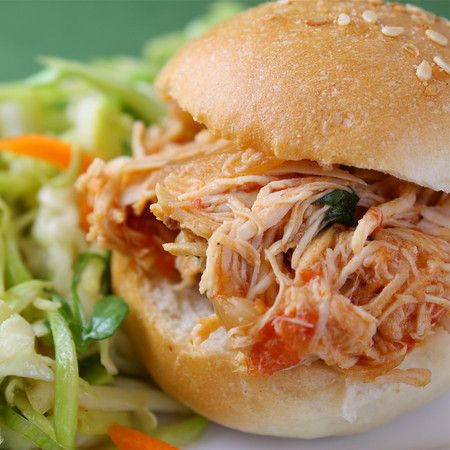 Slow-Cooker Spicy Buffalo Chicken Sandwiches... It's what's for lunch!