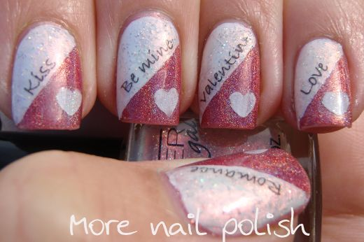 Valentines nail art with home made decals