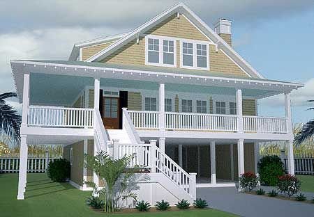 Low country home with wraparound porch for Beach home plans with elevators