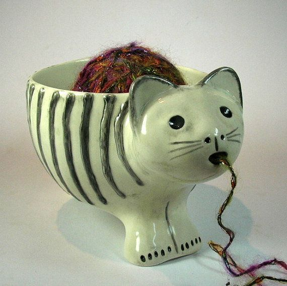 cat yarn bowl from etsy. sold, but she has others. cute and weird! crochet. knitting. planter.