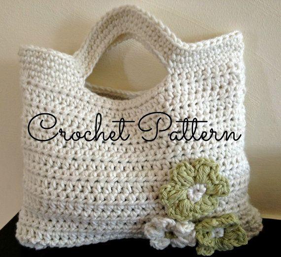 Crochet Cute Bag : Crochet Pattern - Flora Crochet Bag - Cute Little Girls Bag - Instant ...