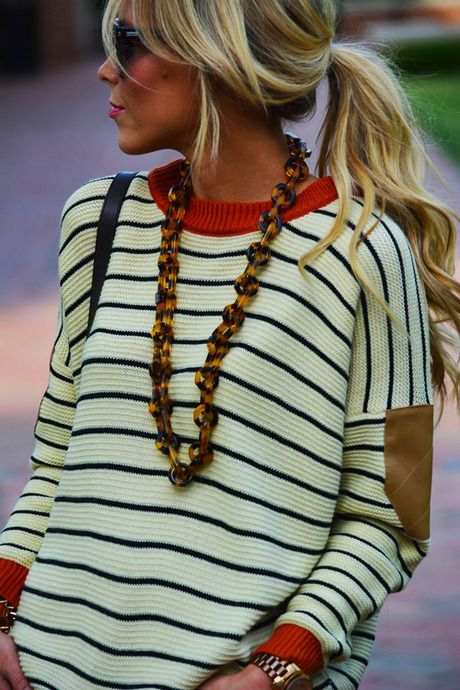 Stripes, leather patches, tortoise shell necklace... Just not sure about all of it together? CLICK THE PIC and Learn how you can EARN MONEY while surfing on Pinterest! http://www.free-share-now.org