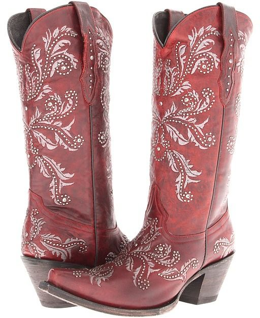 Fantastic Womens Red Western Leather Cowboy Cowgirl Boots Caroline Snip Toe