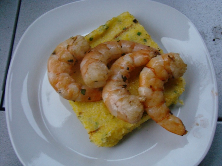 Grilled Herbed Shrimp with Grilled Chive Polenta Cakes