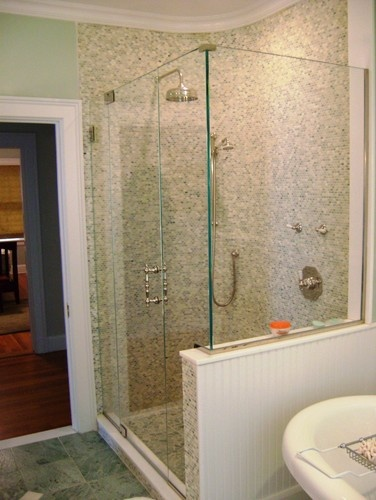 Half wall and frameless shower door bathrooms pinterest for Half wall shower glass