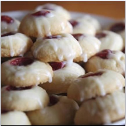 pastry recipes: Raspberry and Almond Shortbread Thumbprints