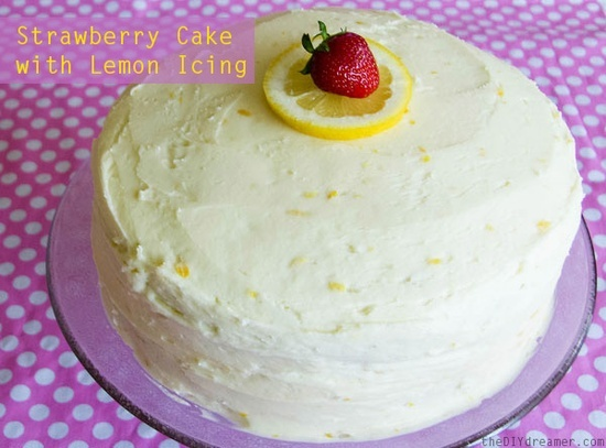 Strawberry Cake with Lemon Buttercream Icing - theDIYdreamer.com