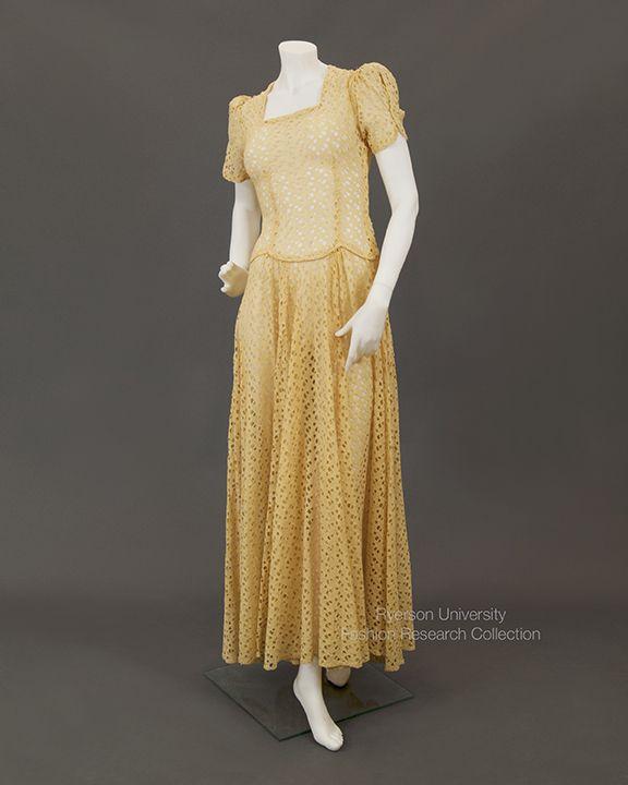 Yellow cutwork wedding dress originally cream colour dyed in s