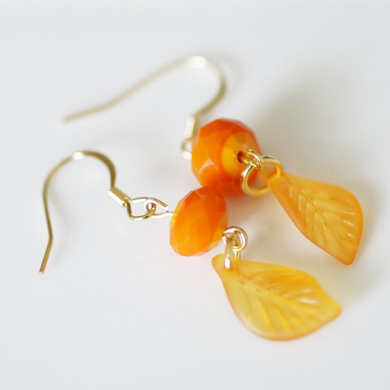 Orange Leaf Earrings - Pumpkin Sherbet Autumn Fall Glass Beads ...