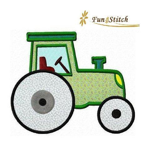 Farm tractor applique machine embroidery design