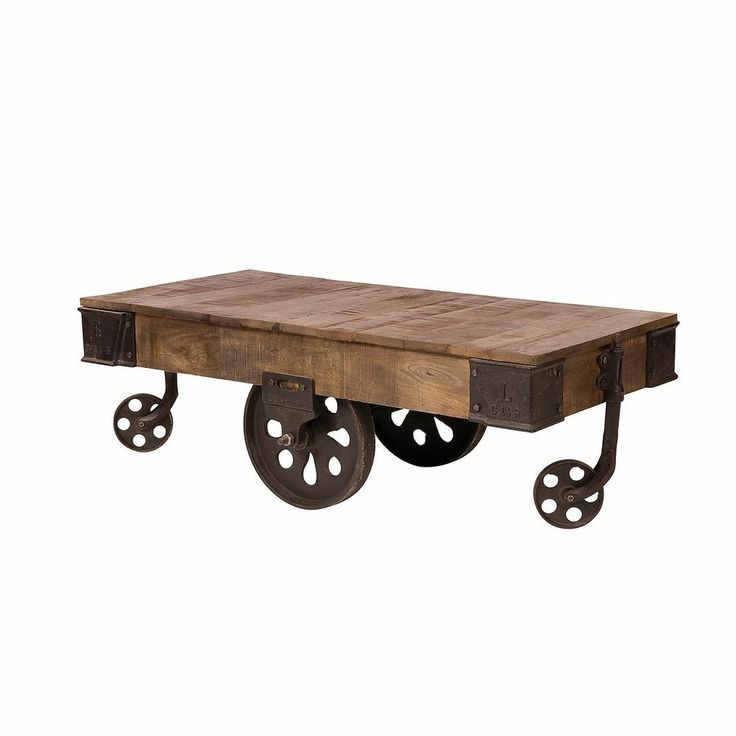 52 long wheel cart coffee table brown antique rusted iron clearence Antique wheels for coffee table