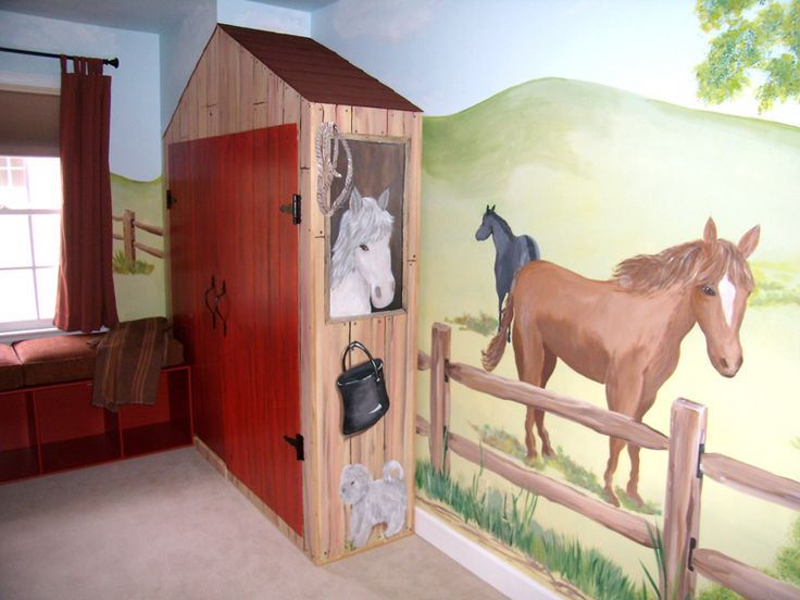 Horse theme kid s room pinterest for Equestrian wall mural