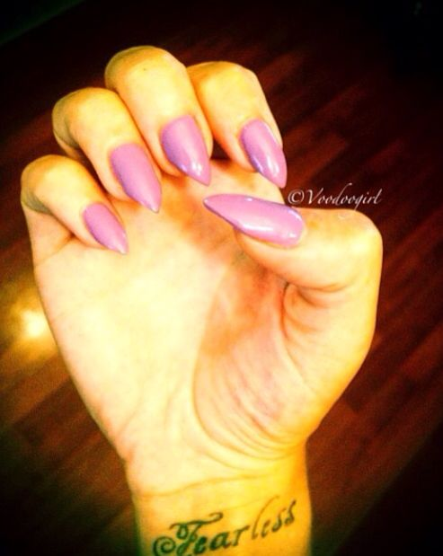 Pinned by Brittany KatzLight Purple Stiletto Nails