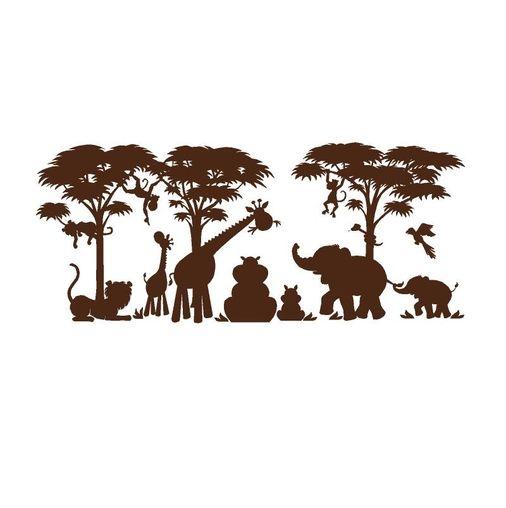 Safari animal silhouette scene graphic stencils and silhouettes pinterest jungle animals