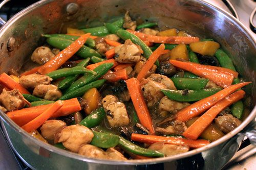 Chicken with Mango, Carrots and Sugar Snap Peas over Brown Rice - step ...