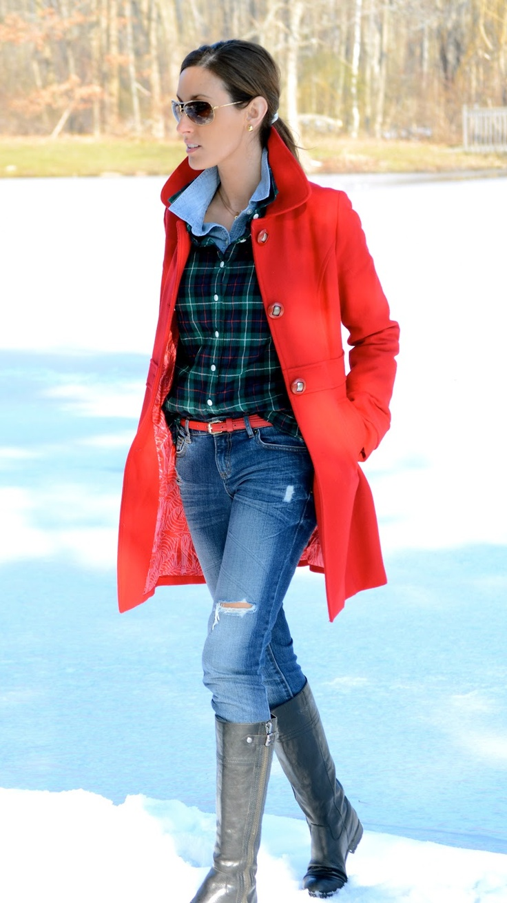 Chambray shirt layered with green/navy plaid shirt, jeans, tan knee boots with g