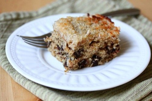 Chocolate Chip Oatmeal Snack Cake with Coconut Topping recipe - i'm so ...