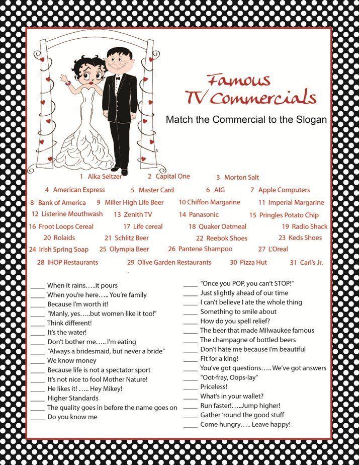 famous tv commercials | Bridal Shower Games | Pinterest