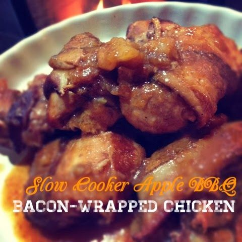 Paleo'ish on a Dime: Slow Cooker Apple BBQ Bacon-Wrapped Chicken ...