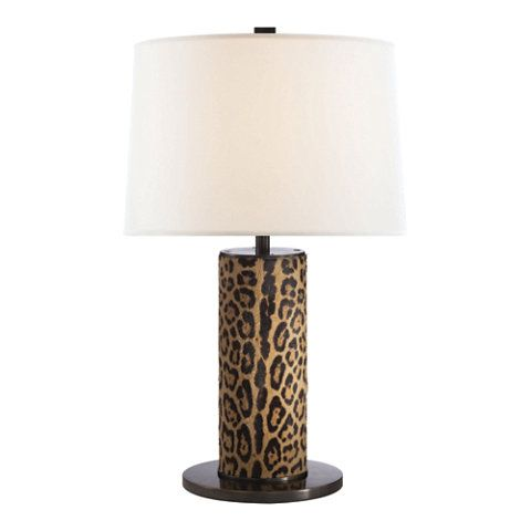 Table lamp in faux leopard with silk shade table lamps lighting
