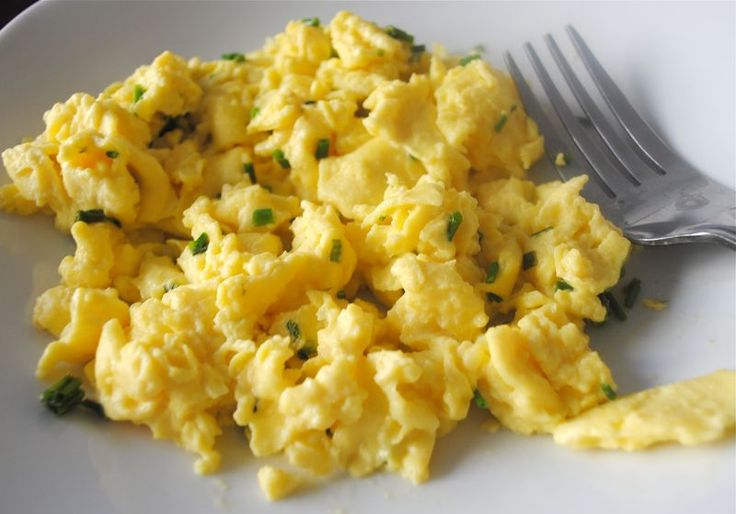 Scrambled Eggs.... use heavy cream or cream cheese... yumm.. and no ...