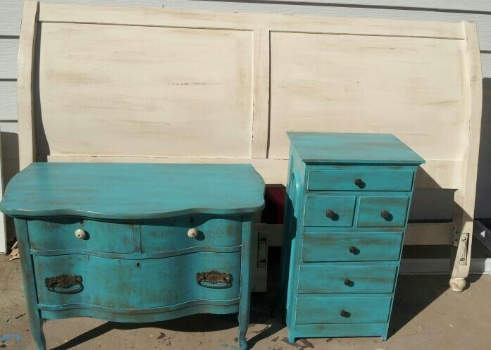 Furniture I painted. Turquoise and cream bedroom. | my redos