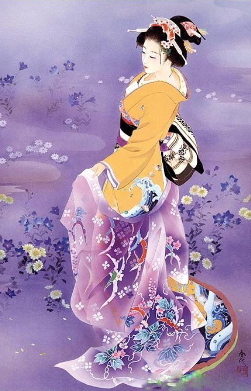 Japanese Woman in Purple | Tattoo Ideas & Inspiration - Japanese Art | Haruyo Morita Artwork | #Japanese #Art