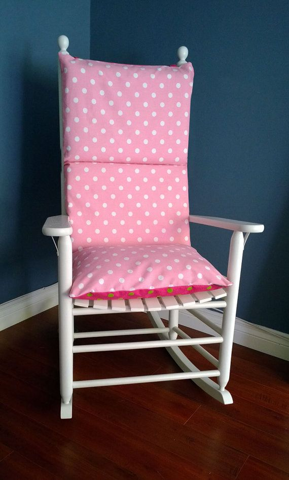 Rocking Chair Cushion Pink Lime Polka Dot