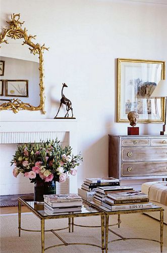nice antique gold mirror in a classic living room