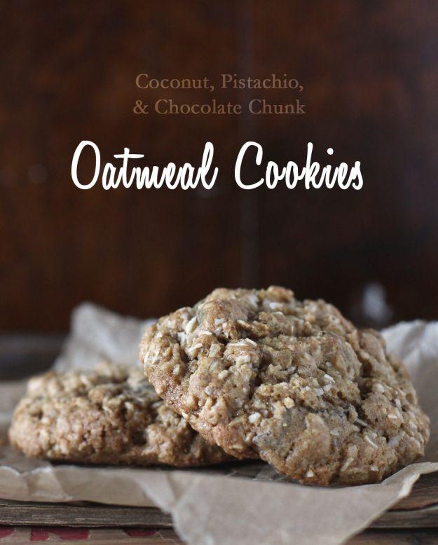 Coconut pistachio chocolate chunk oatmeal cookies (use GF flour in ...