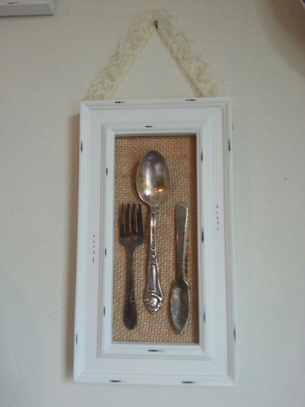 antique silverware burlap minus lace frame