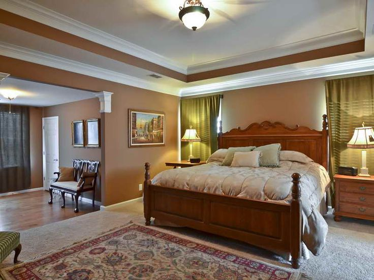 Trey ceiling paint ideas with brown wall master bedroom for Brown bedroom paint ideas