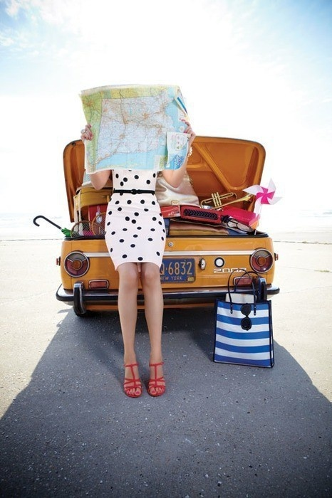 hit the road in a beautiful white dress with little black dots
